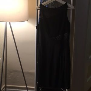 Ann Klein Jersey Sheer Panel Cocktail Dress.